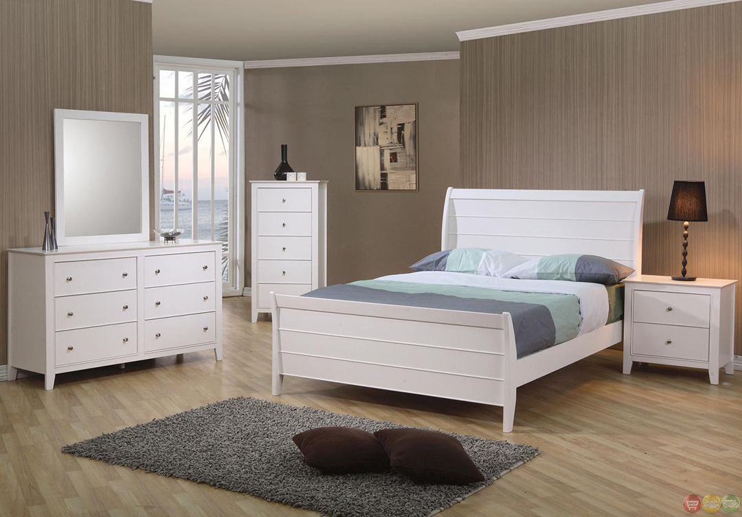 selena white twin sleigh bed bedroom set. Black Bedroom Furniture Sets. Home Design Ideas