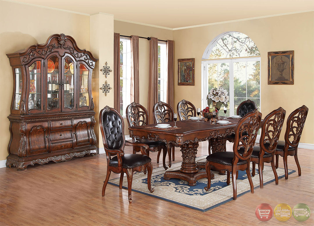 Selene traditional dark wood formal dining set with buffet for Formal dining set