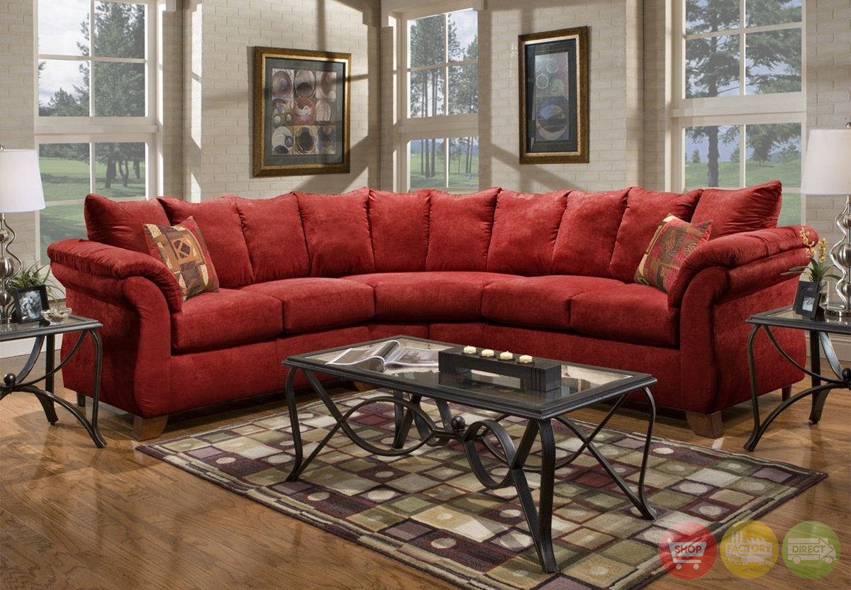 Sensations red microfiber sectional sofa with loose pillow for Red sectional sofa canada