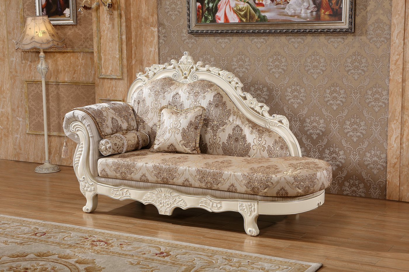 Serena Opulent Traditional Upholstered Chaise In Pearl
