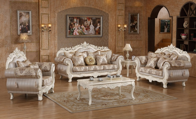 Serena Opulent Traditional Upholstered Sofa U0026 Loveseat In Pearl White Gold