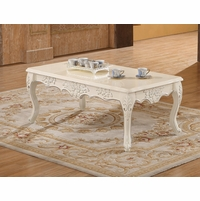 Serena Opulent Traditional Wood Coffee Table In Pearl White Gold
