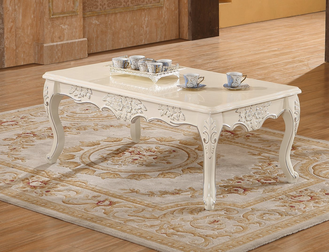 serena opulent traditional wood coffee table in pearl white gold. Black Bedroom Furniture Sets. Home Design Ideas