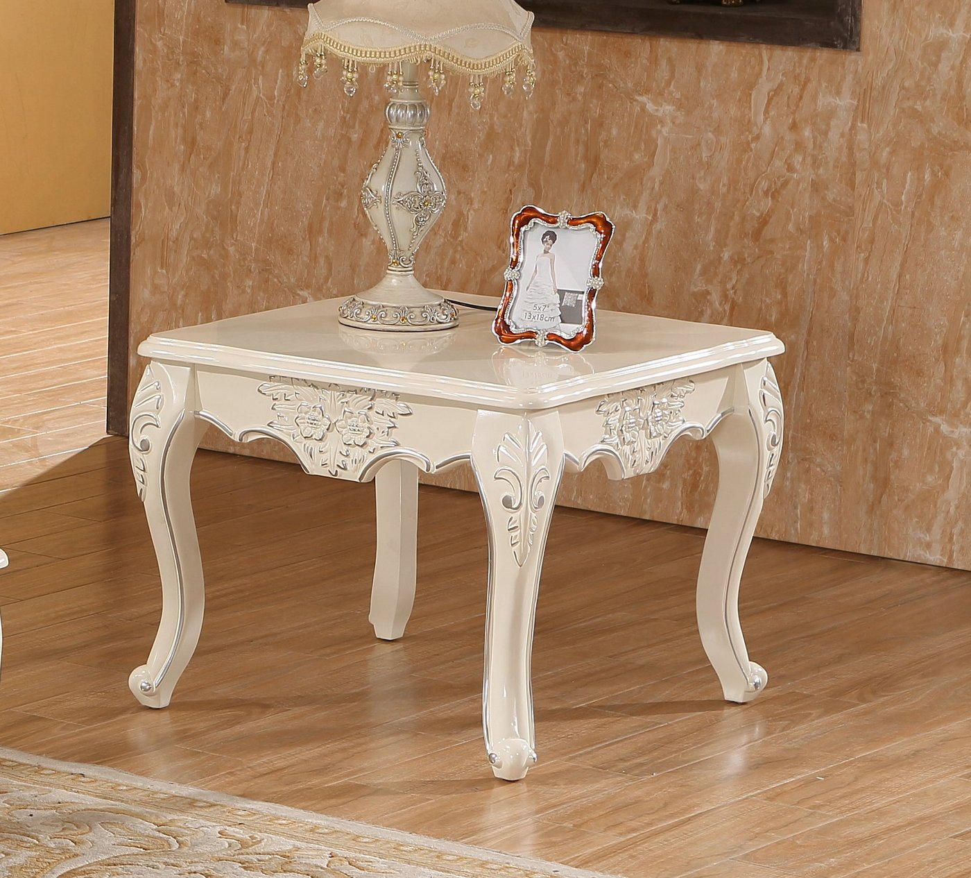serena opulent traditional wood end table in pearl white gold. Black Bedroom Furniture Sets. Home Design Ideas