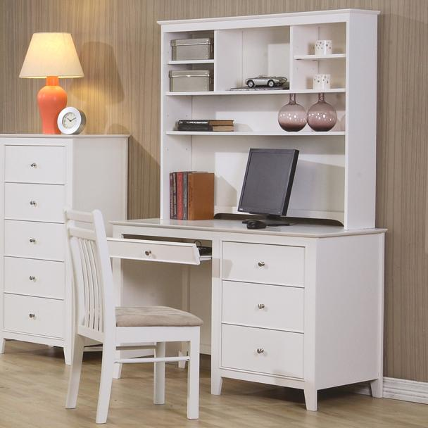 2340505a7f9bb Serena Kids Computer Desk And Hutch In White With Pull Out Keyboard Tray