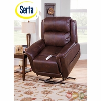 Serta Comfortlift Norwhich Brown Wall Hugger Reclining Lift Chair With USB Outlet