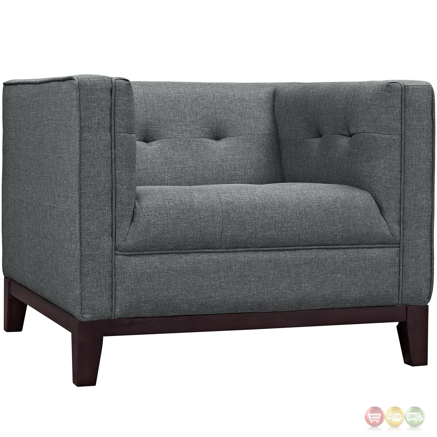 Serve modern 2pc upholstered button tufted sofa armchair for Tufted couch set