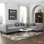 Mid-Century Modern Serve 2pc Button-Tufted Sofa & Armchair Set, Light Gray