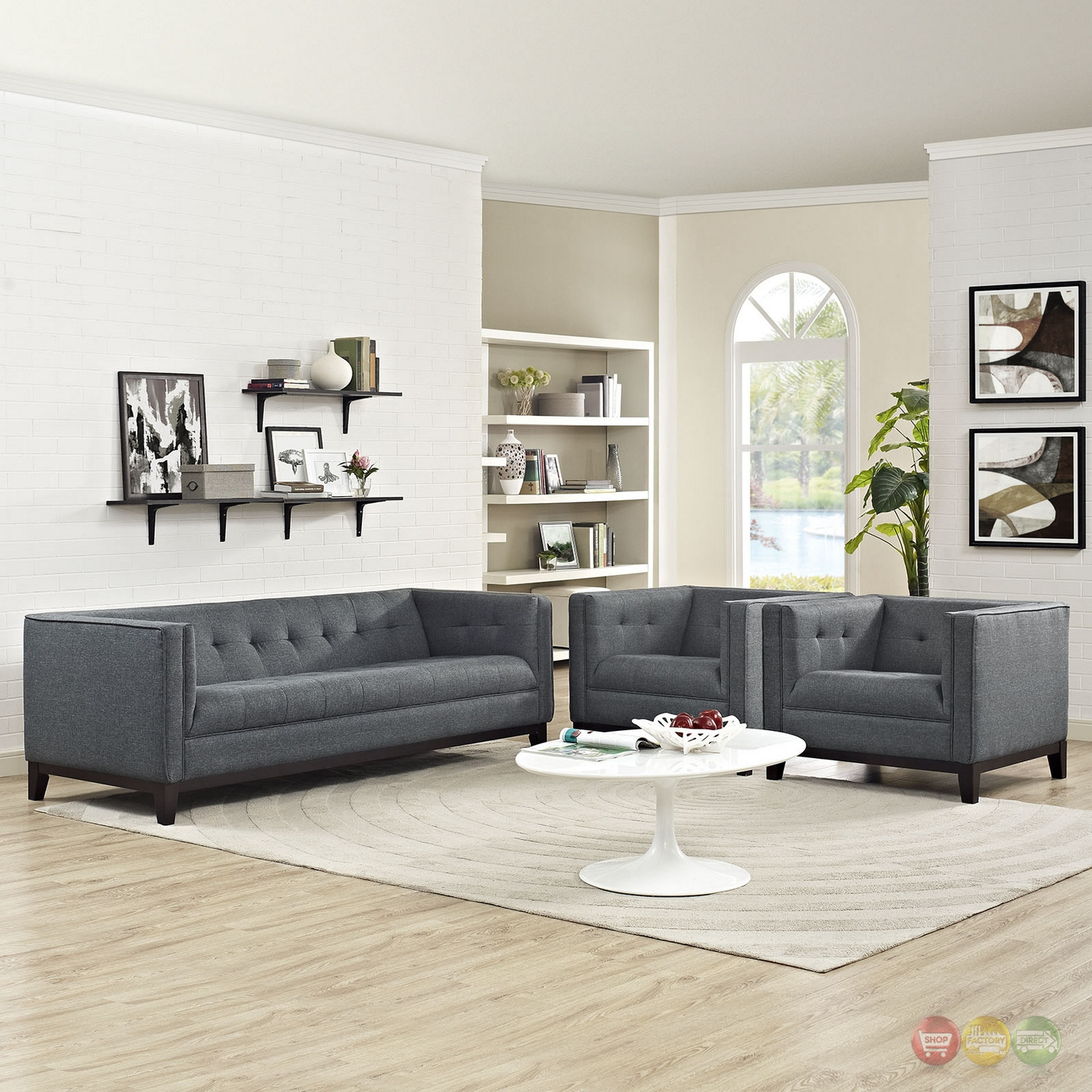 Serve modern 3 pc upholstered sofa armchairs living room set gray - Modern living room furniture set ...