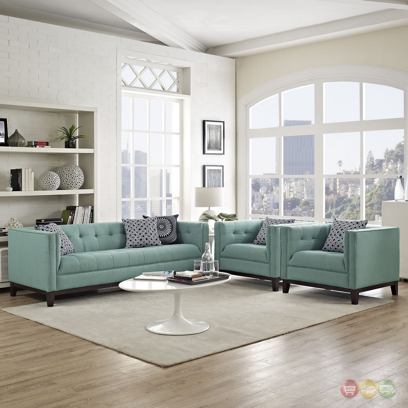 serve modern 3 pc upholstered sofa armchairs living room