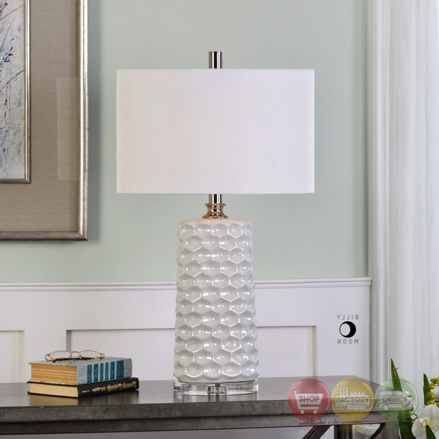 Sesia Glossy White Ceramic Table Lamp With Honeycomb