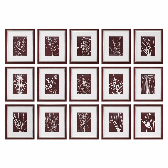 "Set Of 15, Abstract Contemporary Chic Marsala Floral Prints Wall Art, 17""x20"""