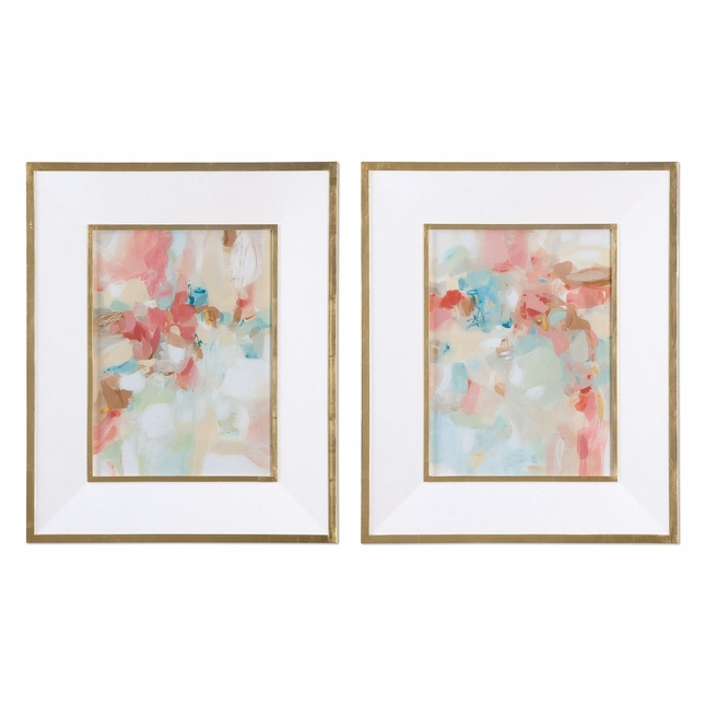 """Set Of 2, A Touch Of Blush And Rosewood Fences Pastel Framed Wall Art, 28""""x34"""""""