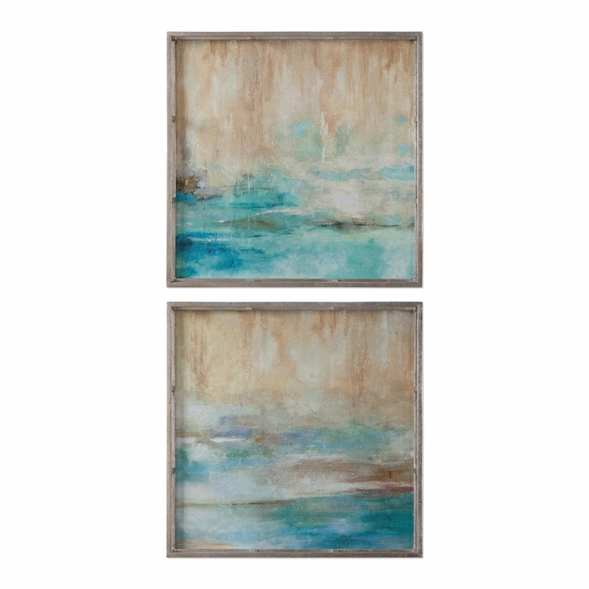 "Set Of 2, Abstract Through The Silver Mist Brushstroke Finish Wall Art, 20""x20"""