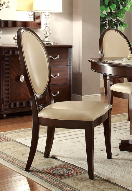 set of 2 alastair cream faux leather side chair w dark cherry finish