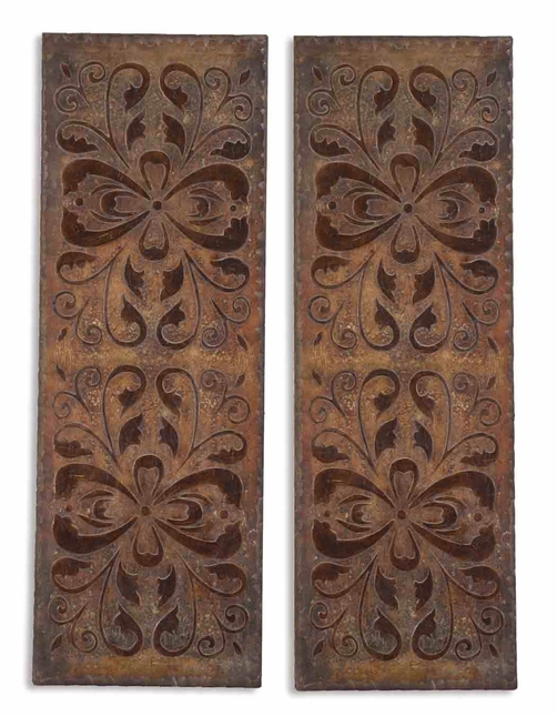 Set of 2 Alexia Traditional Heavily Antiqued Rust Brown Art Panel  13643
