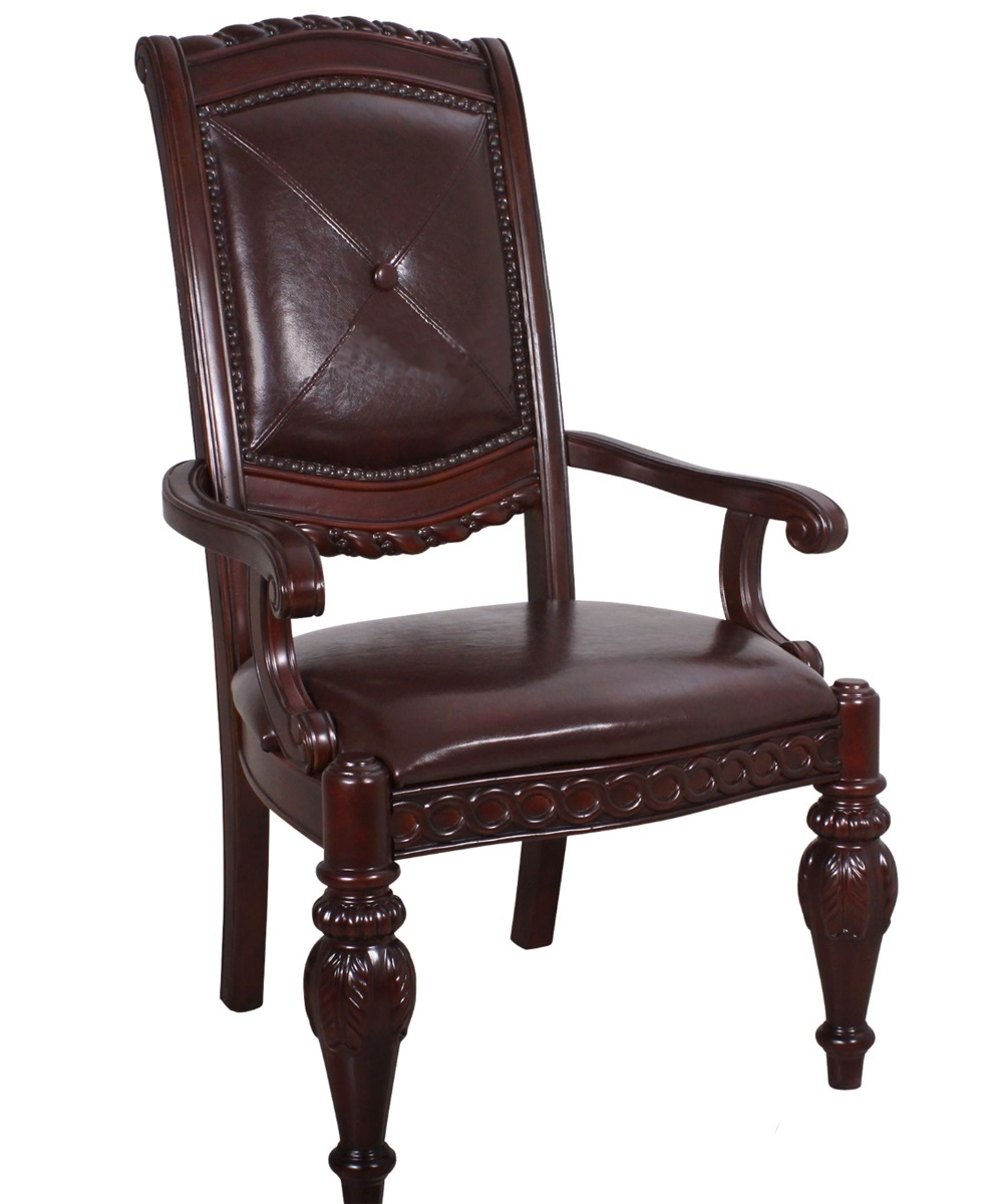 Leahlyn Reddish Brown Arm Chair Set Of 2: Set Of 2, Antoinette Carved Dark Brown Split Leather