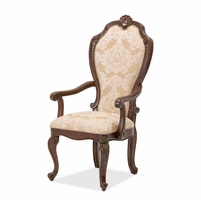 Set of 2, Bella Veneto Traditional Beige Upholstered Arm Chair in Cognac Finish
