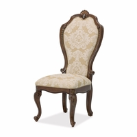 Set of 2, Bella Veneto Traditional Beige Upholstered Side Chair in Cognac Finish
