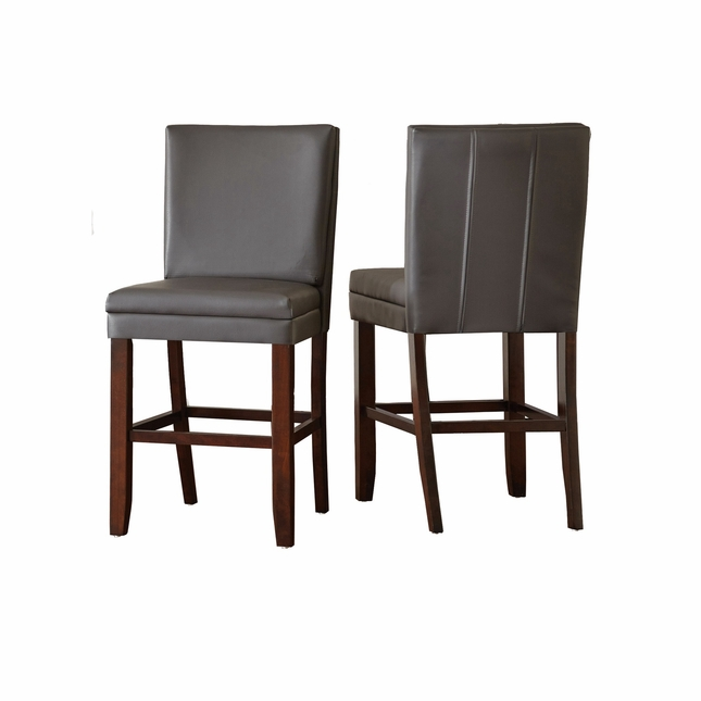 Set Of 2, Bennett Gray Vinyl Counter Height Chairs With Back Stitching