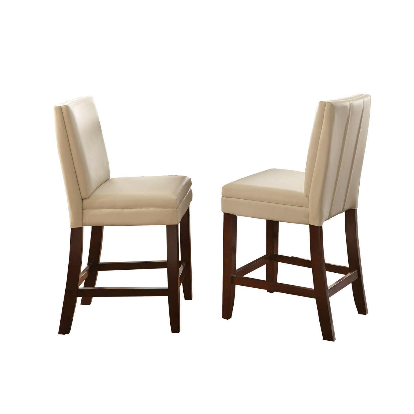 Set Of 2 Bennett White Vinyl Counter Height Chairs With