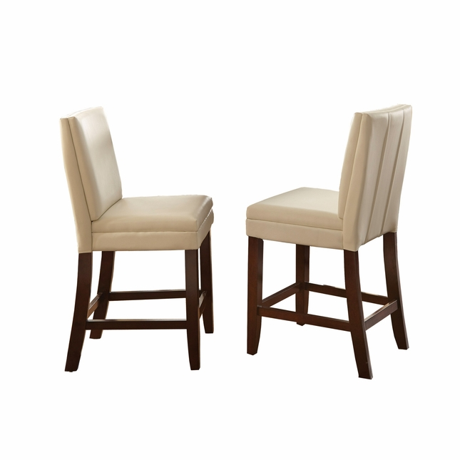 set of 2 bennett white vinyl counter height chairs with back stitching