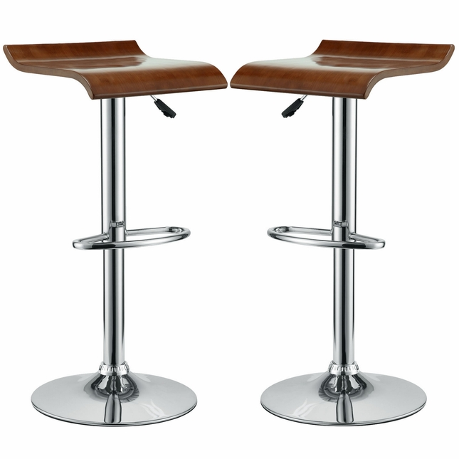 Set Of 2, Bentwood Wave-style Solid Wood Bar Stool w/ Chrome Base, Oak