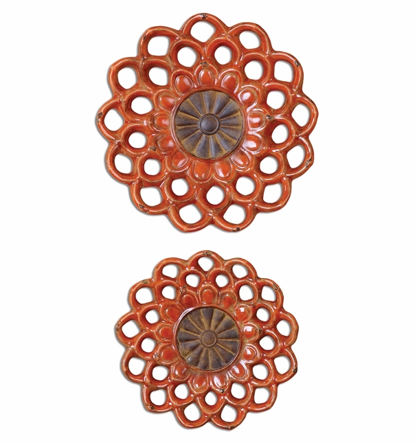 Set of 2 Carilla Medallions Traditional Aged Red Orange Metal Wall Art 08505