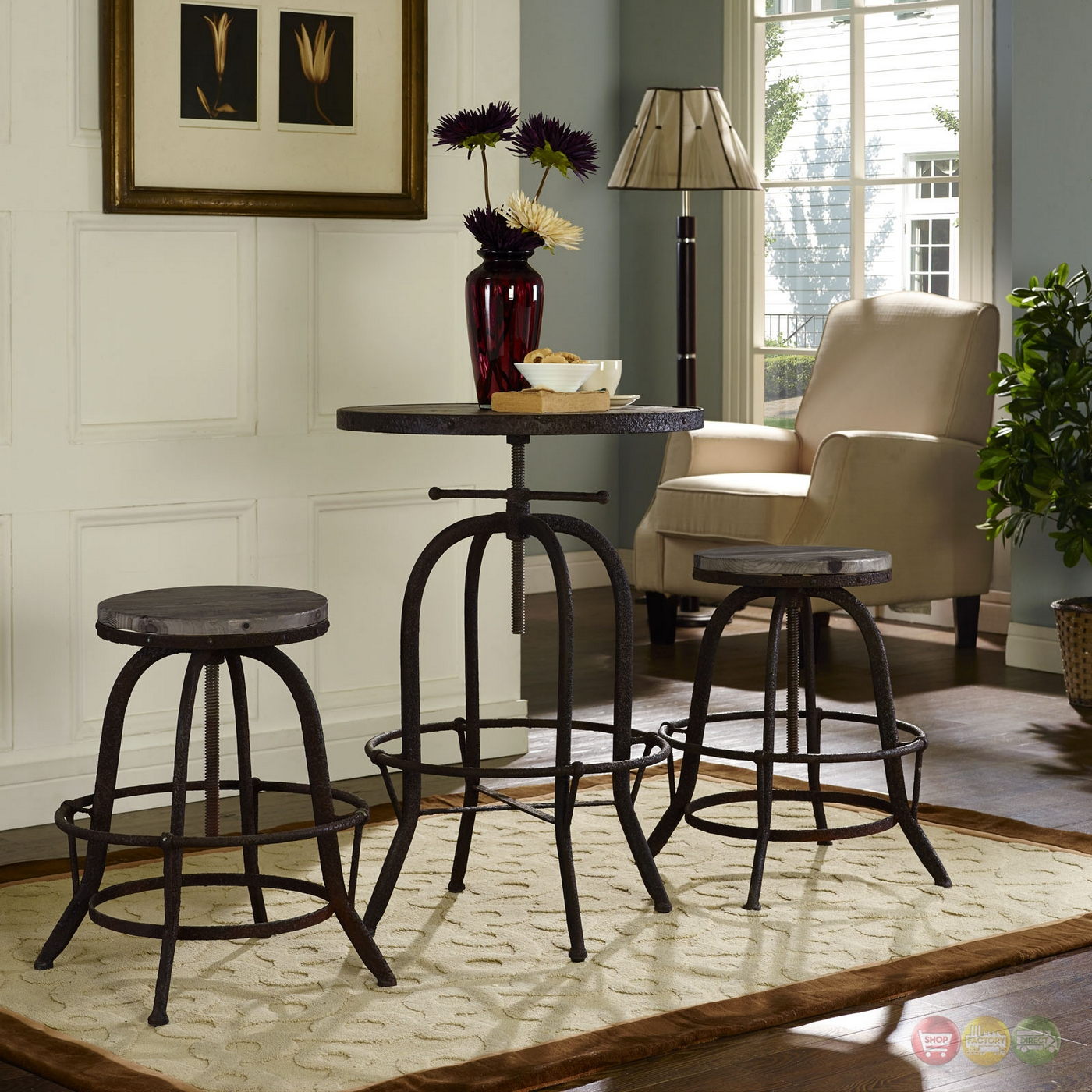 Set Of 2 Collect Industrial Bar Stool W Wood Seat Amp Cast