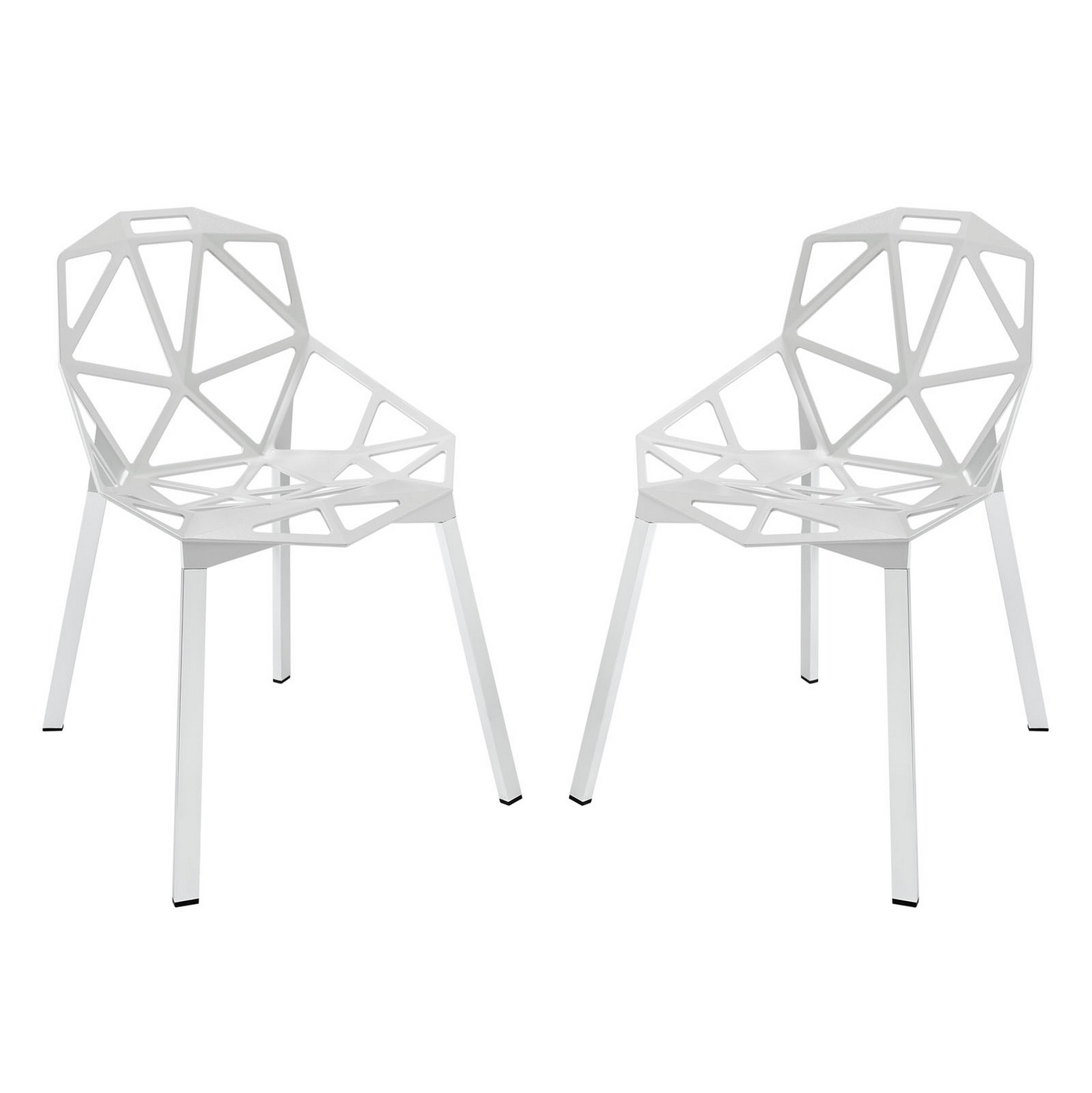 Set of 2 connections modern geometrical dining chair with for White chrome dining chairs