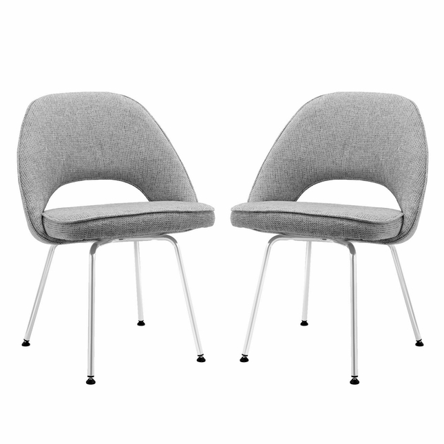 Set Of 2 Cordelia Modern Tweed Upholstered Dining Chairs With Chrome Legs Light Gray