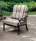 Set Of 2, Crescent Casual Outdoor Black Metal Chair w/ Striped Cushions
