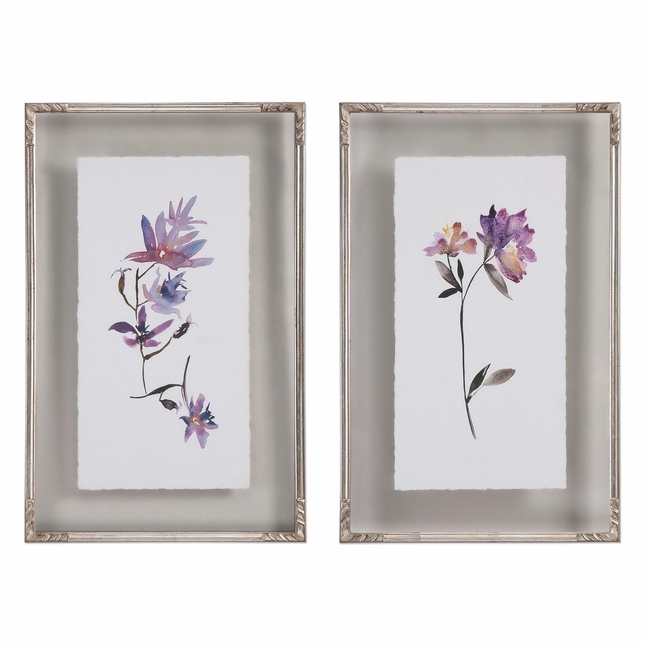 "Set Of 2, Delicate Floral Watercolors Art Framed On Double Glass Frames, 19""x31"""