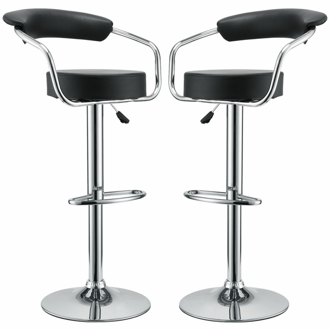 Set Of 2, Diner Modern Vinyl Upholstered Low Back Bar Stool, Black