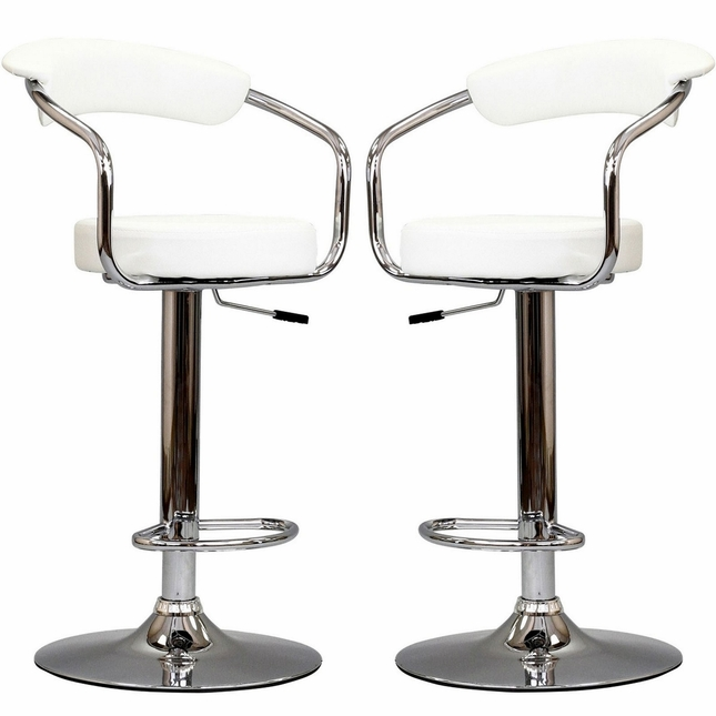 Set Of 2, Diner Modern Vinyl Upholstered Low Back Bar Stool, White