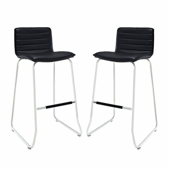 Set Of 2, Dive Modern Ribbed Vinyl Bar Stool w/ Foot Stretcher In Chrome Finish, Black