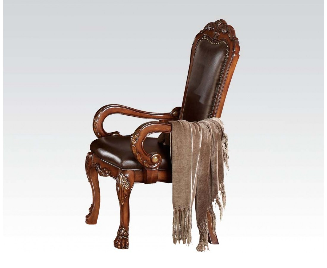 Set Of 2 Dresden Ornate Antique Style Leather Arm Chair