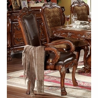 Set Of 2, Dresden Ornate Antique Style Leather Arm Chair In Cherry Oak