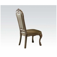 Set of 2, Dresden Pu Leather Side Chairs In Gold Patina Carved Wood