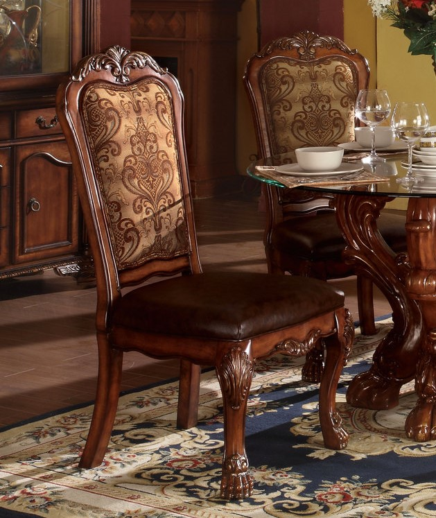 Set Of 2 Dresden Side Chairs In Cherry Oak And Brown Faux