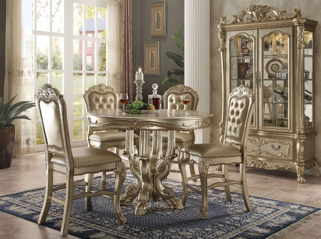 Dresden Carved Wood 5pc 48 Counter Height Dining Table Set In Gold Patina