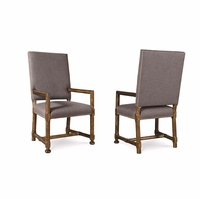 Set of 2, Echo Park Grey Upholstered Birch Arm Chair with Stipple Stain Finish