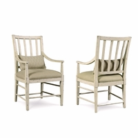 Set of 2, Echo Park Slat Back Birch Arm Chair with Antique White Finish