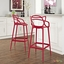Set Of 2, Entangled Modern Shapely Molded Plastic Bar Stool, Red