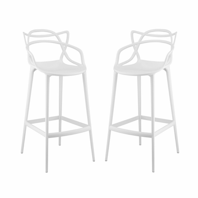 Set Of 2, Entangled Modern Shapely Molded Plastic Bar Stool, White