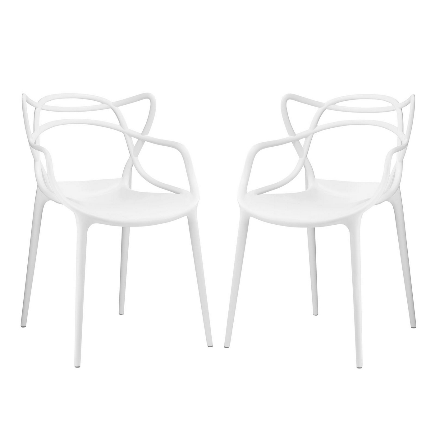 Set of 2 entangled modern shapely molded plastic dining for White plastic dining chair