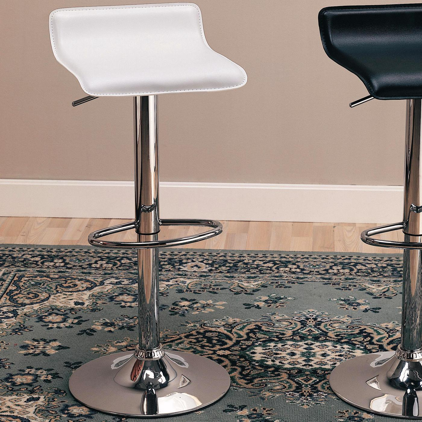 Set Of 2 Faux Leather Amp Chrome Contemporary 29 Inch Bar Stools