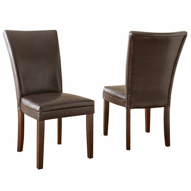Set of 2 hartford contemporary brown leather upholstered for Leather parsons dining chair