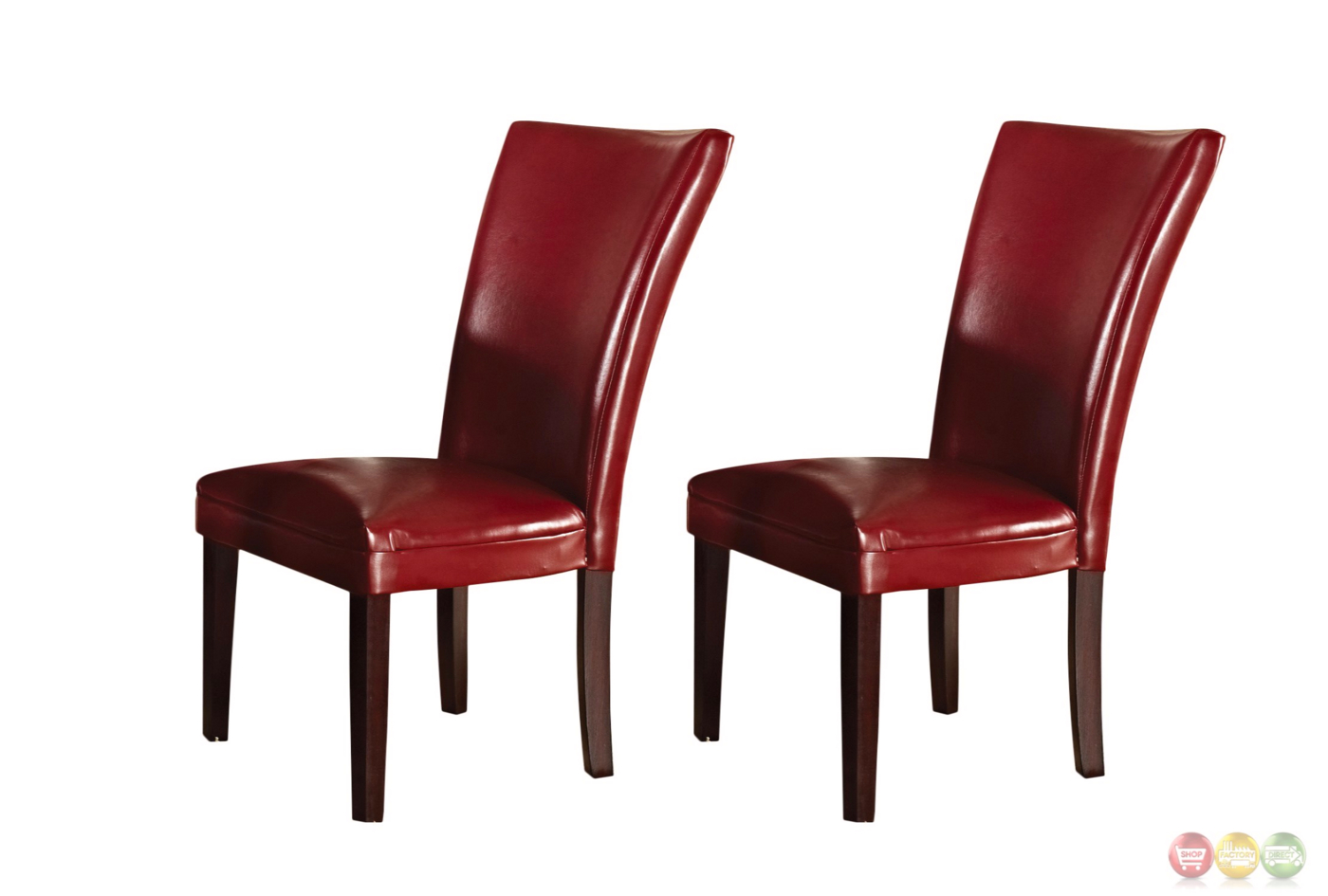 Set of 2 hartford contemporary red leather upholstered for Leather parsons dining chair