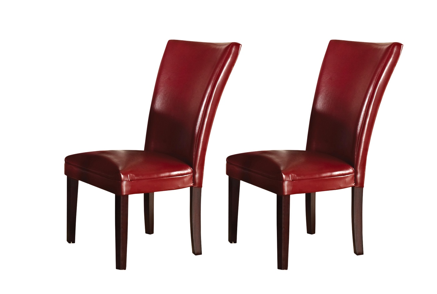 Set of 2 hartford contemporary red leather upholstered for Upholstered dining chairs contemporary